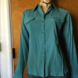 The North Face Seminoe Nectar Green L/S Shirt Sz L